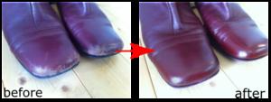 パープルレッドのブーツを補修塗り替え行いました。